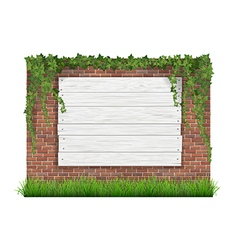 Wooden sign brick wall grass and ivy vector