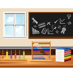 Classroom with books and instruments vector