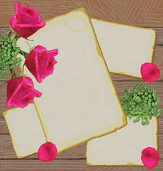 old letters and notes with bright roses on wood vector image