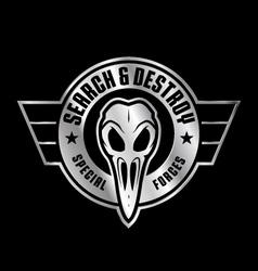 Military bird skull emblem vector