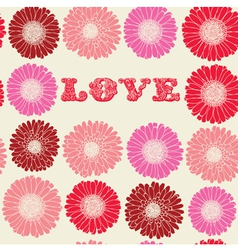 Vintage floral love pattern vector