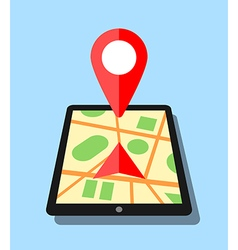 Tablet with map application and pin vector