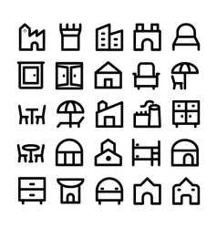 Buildings and furniture icons 12 vector