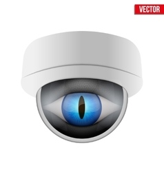 Cctv security camera with reptile eye vector