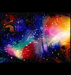 Cosmic galaxy watercolor background with stardust vector