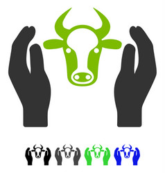 Cow head care hands flat icon vector