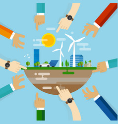 eco friendly city development planning together vector image