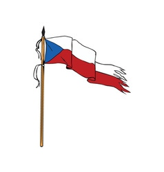 Flag czech republic torn ripped retro vector