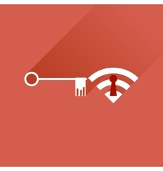 Flat icon with long shadow key wi fi vector