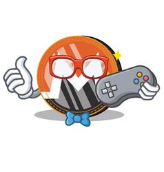 Gamer monero coin character cartoon vector