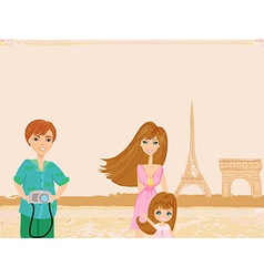 happy family in Paris vector image