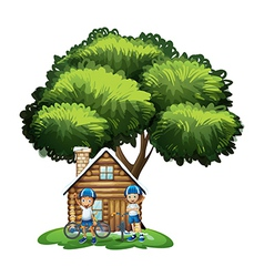 Kids standing outside the house under the big tree vector image