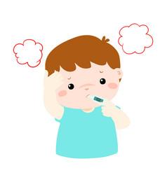little boy got high temperature cartoon vector image vector image