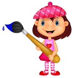 Little girl cartoon is painting with paintbrush vector image vector image