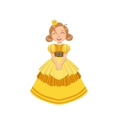 Little Girl In Yellow Dress Dressed As Fairy Tale vector image vector image