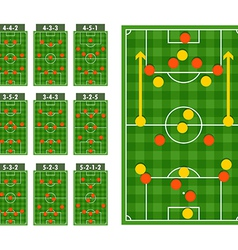 Main football strategy schemes vector