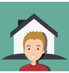 Man house insurance red vector