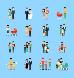 Married couple people life collection on blue vector