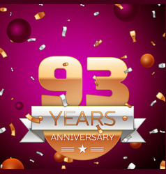Ninety three years anniversary celebration design vector
