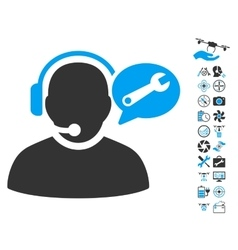 Operator service message icon with air drone tools vector