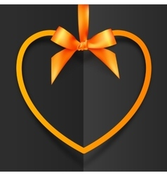 Orange heart shape frame hanging on silky ribbon vector image vector image