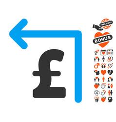 Pound moneyback icon with valentine bonus vector