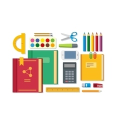 School Education Items on Table vector image vector image