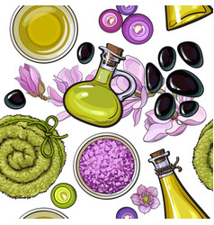 Seamless pattern of spa salon accessories vector