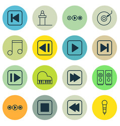 Set of 16 multimedia icons includes sound box vector