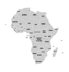 simple flat grey map of africa continent with vector image vector image