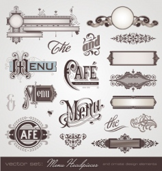 vector set menu headpieces vector image vector image
