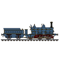 vintage blue steam locomotive vector image vector image