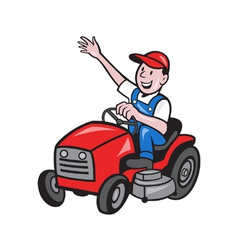 Farmer driving ride on mower tractor vector