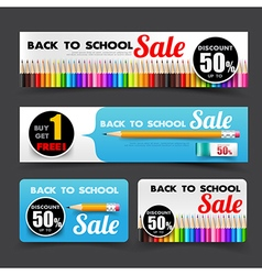 016 collection of back to school sale with color vector