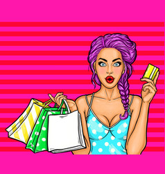 pop art of a young sexy girl vector image