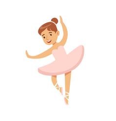 Little girl in pink dress dancing ballet in vector