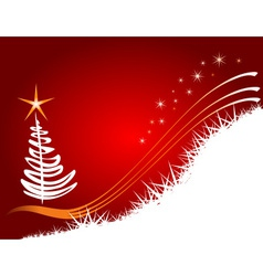 Red Christmas background with tree vector image