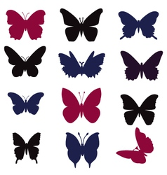 butterflies silhouette - vector image
