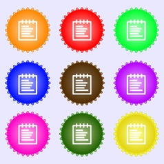 Notepad icon sign a set of nine different colored vector