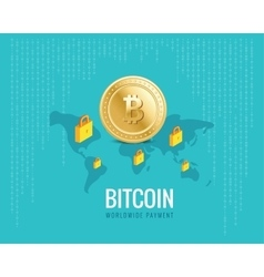 Bitcoin worldwide payment with world vector