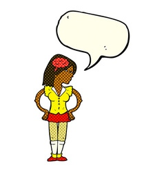 Cartoon intelligent woman with speech bubble vector