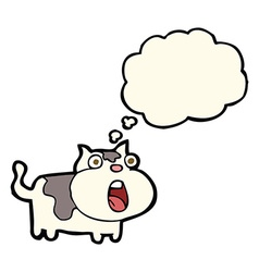 Cartoon shocked cat with thought bubble vector
