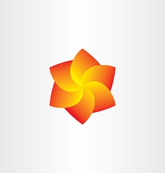 Yellow red spiral flower icon vector
