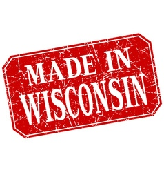 Made in wisconsin red square grunge stamp vector