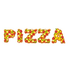 Pizza text letters of appetizing slices of pizza vector