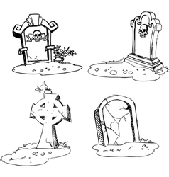 Scary tombstones in halloween night vector
