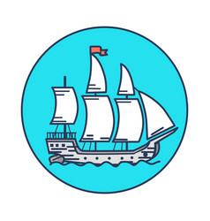 Ancient wooden ship with white sails on water vector