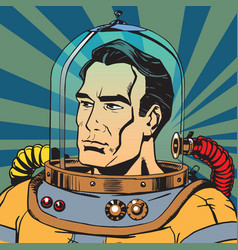 avatar portrait of a retro astronaut man vector image vector image