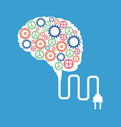 brain gears plug concept vector image
