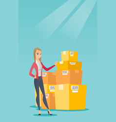 Business woman checking boxes in warehouse vector